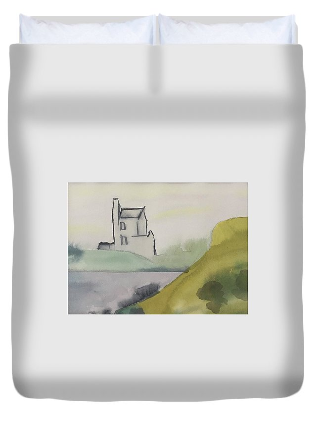 Castle Duvet Cover featuring the painting Castle On The Hill by Alice Singer