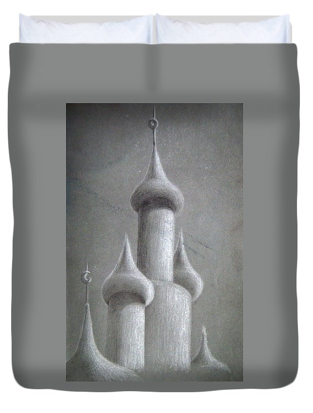 Black And White Duvet Cover featuring the drawing Castle Sketch by Shaun McNicholas