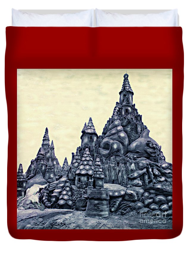 Sandcastles Duvet Cover featuring the photograph Castles On The Beach by Keith Dillon