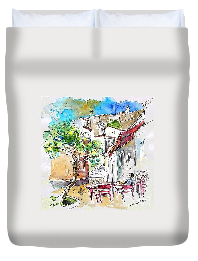 Water Colour Travel Sketch Castro Marim Portugal Algarve Miki Duvet Cover featuring the painting Castro Marim Portugal 01 by Miki De Goodaboom