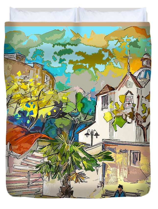 Castro Marim Portugal Algarve Painting Travel Sketch Duvet Cover featuring the painting Castro Marim Portugal 13 Bis by Miki De Goodaboom