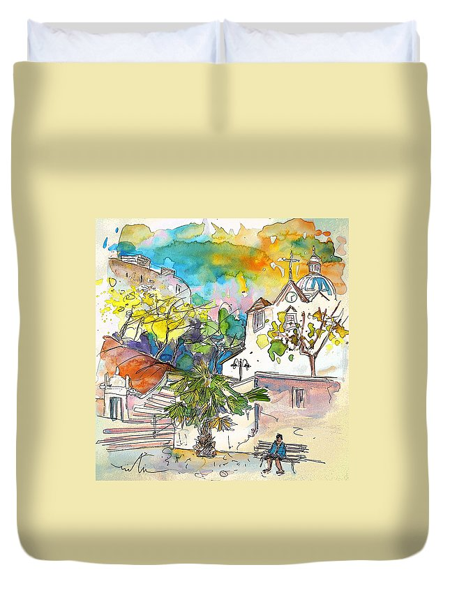 Castro Marim Portugal Algarve Painting Travel Sketch Duvet Cover featuring the painting Castro Marim Portugal 13 by Miki De Goodaboom