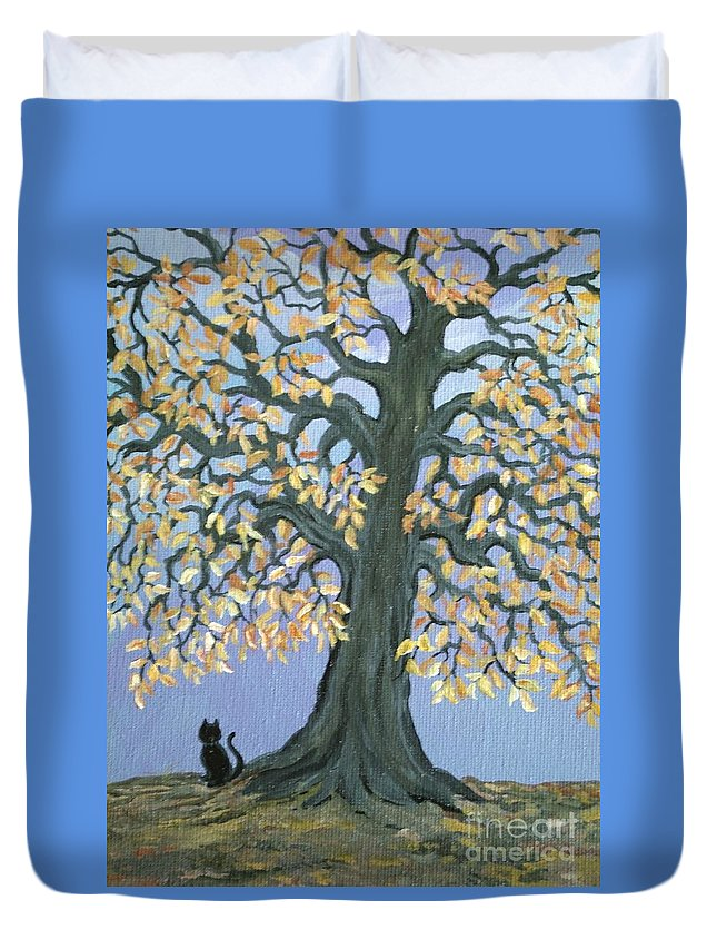 Cat Duvet Cover featuring the painting Cat And Crow by Nick Gustafson