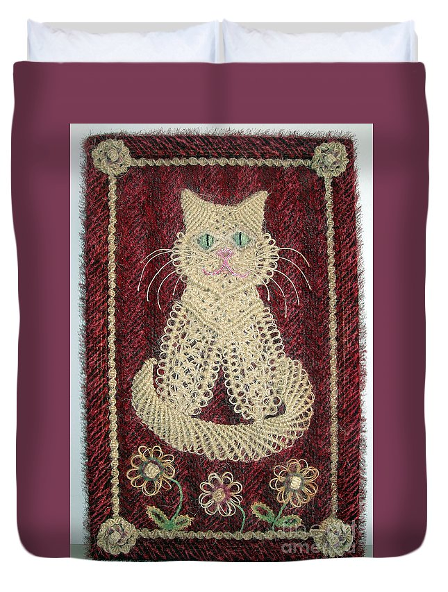 Sisal Duvet Cover featuring the tapestry - textile Cat And Flowers. Macrame Art by Sofia Metal Queen