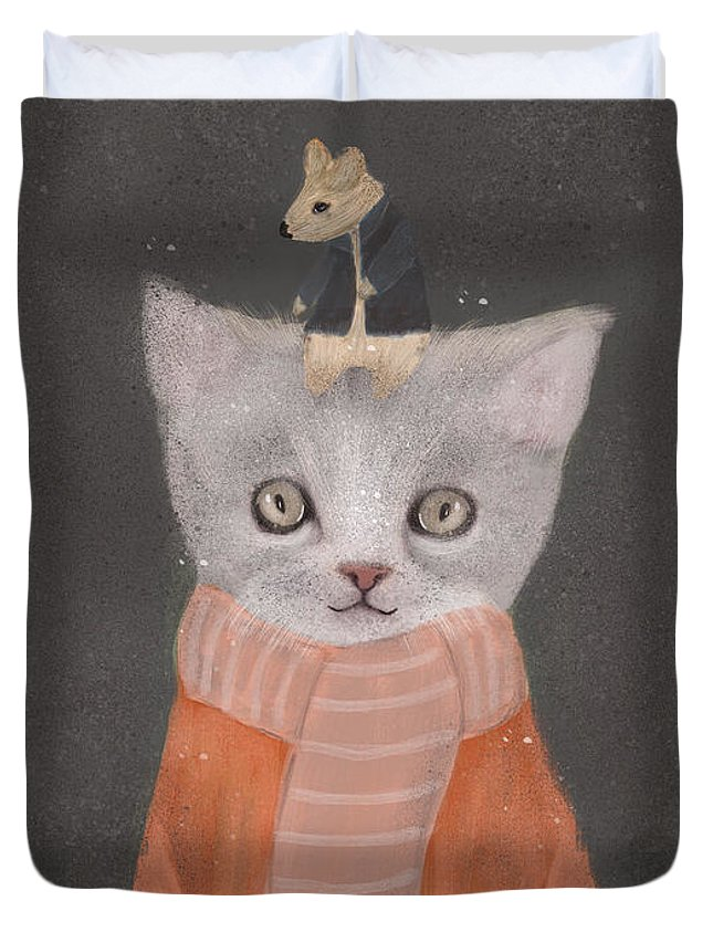 Cat Duvet Cover featuring the painting Cat And Mouse by Bri Buckley