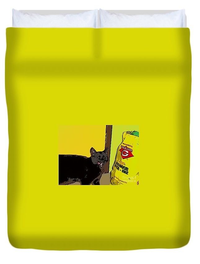 Photograph Cat Black Rice Yellow Critter Green Red Duvet Cover featuring the photograph Cat And Rice by Seon-Jeong Kim