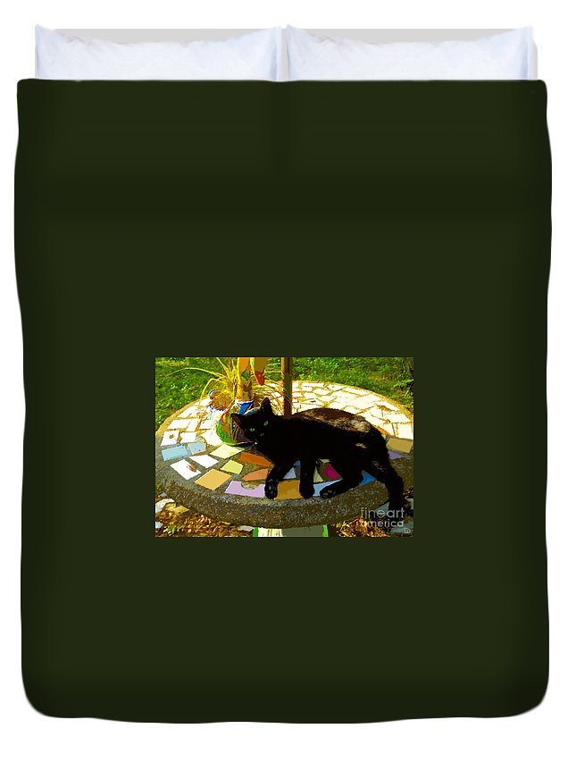Black Cat Duvet Cover featuring the painting Cat And Table by David Lee Thompson