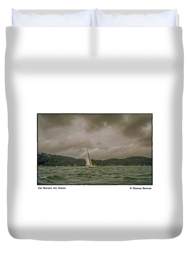 Duvet Cover featuring the photograph Cat Before The Storm by R Thomas Berner