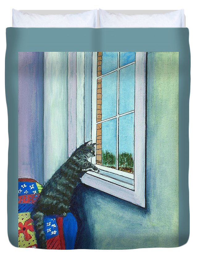 Malakhova Duvet Cover featuring the painting Cat By The Window by Anastasiya Malakhova