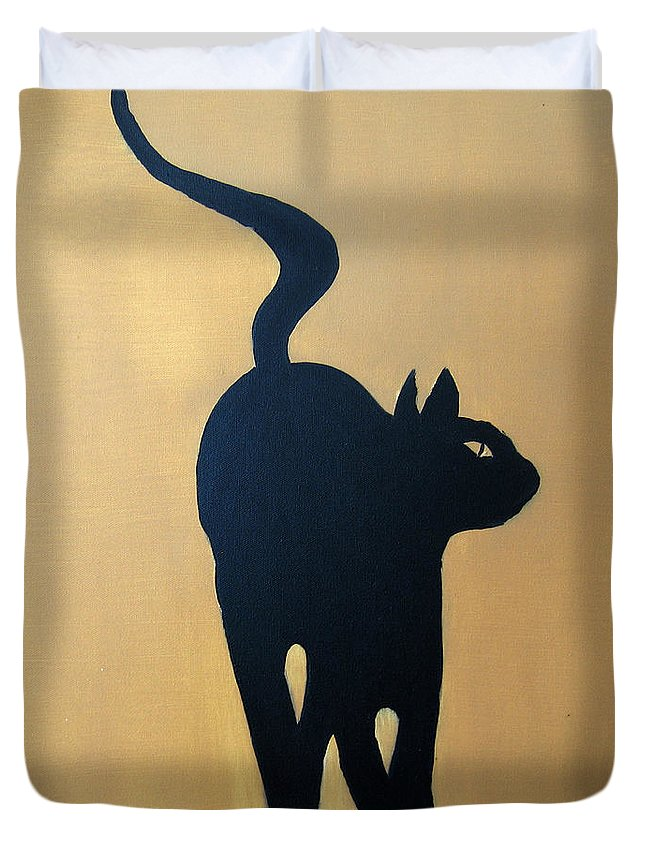 Cat Duvet Cover featuring the painting Cat Dance..... Optical Illusion by Patrick Trotter