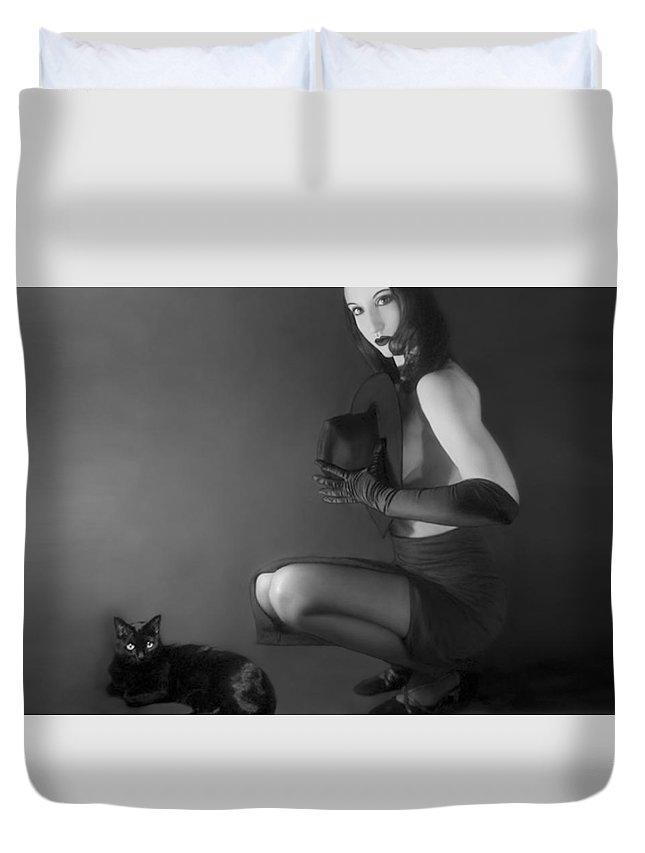 Alluring Duvet Cover featuring the photograph Cat Eyes - Self Portrait by Jaeda DeWalt