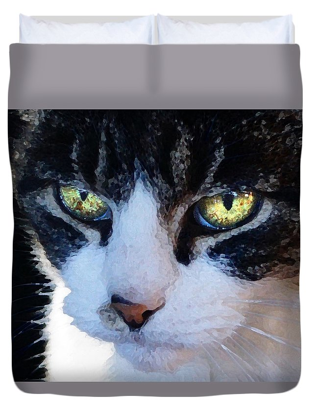 Cat Duvet Cover featuring the digital art Cat Eyes by Jana Russon