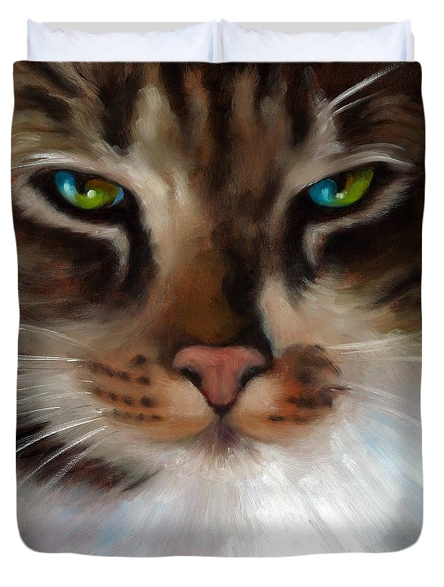 Cats Duvet Cover featuring the painting Cat Eyes by Lorraine Bushek