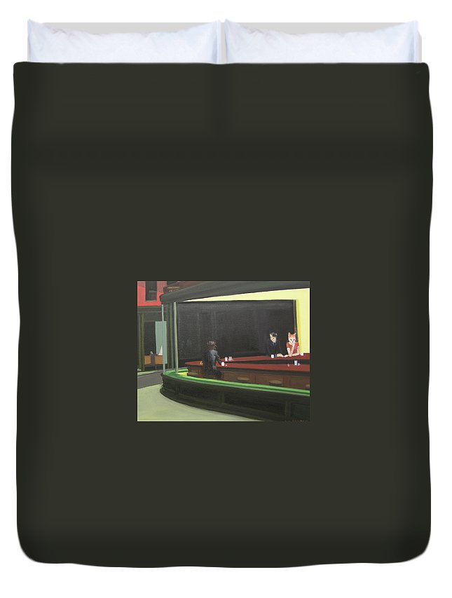 Nighthawks Duvet Cover featuring the painting Cat Hawks At The Diner by Gail Eisenfeld
