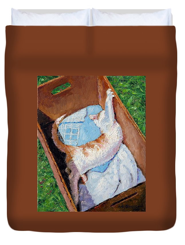 Kitten Duvet Cover featuring the painting Cat In A Box by John Lautermilch
