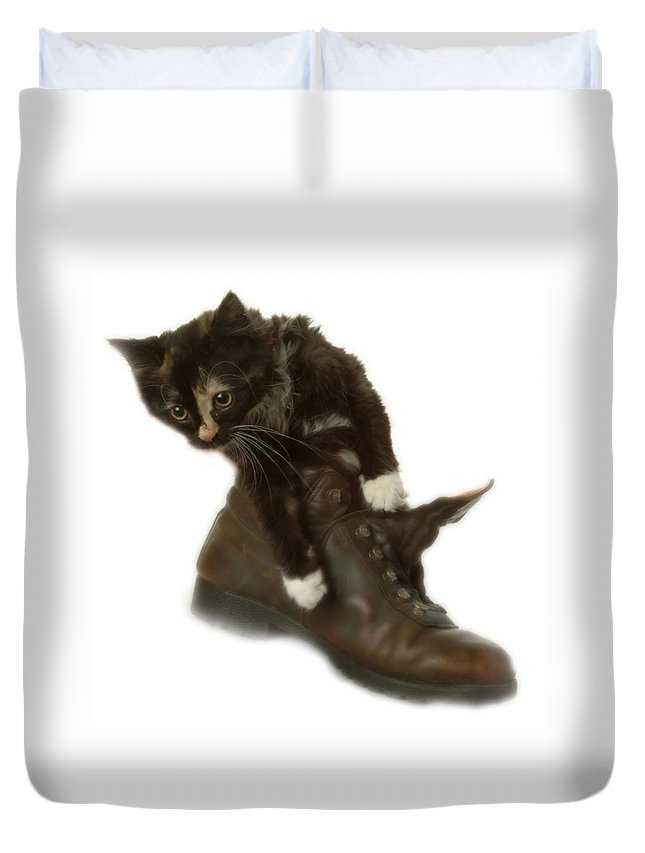 Duvet Cover featuring the photograph Cat In Boot by Cliff Norton