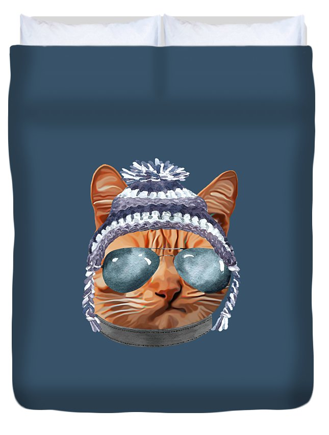 Aviators Duvet Cover featuring the digital art Cat Kitty Kitten In Clothes Aviators Toque Beanie by Trisha Vroom