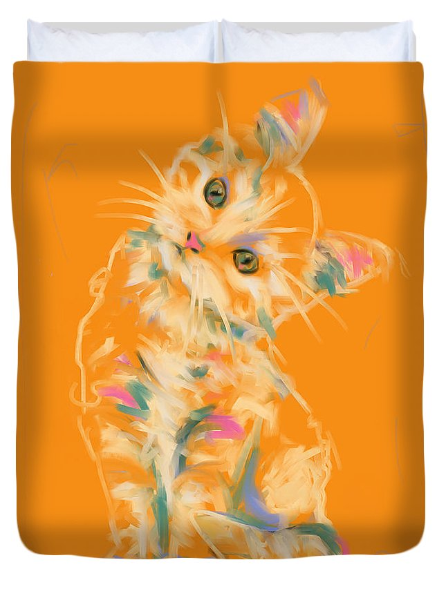 Cat Duvet Cover featuring the painting Cat Kitten Lou by Go Van Kampen