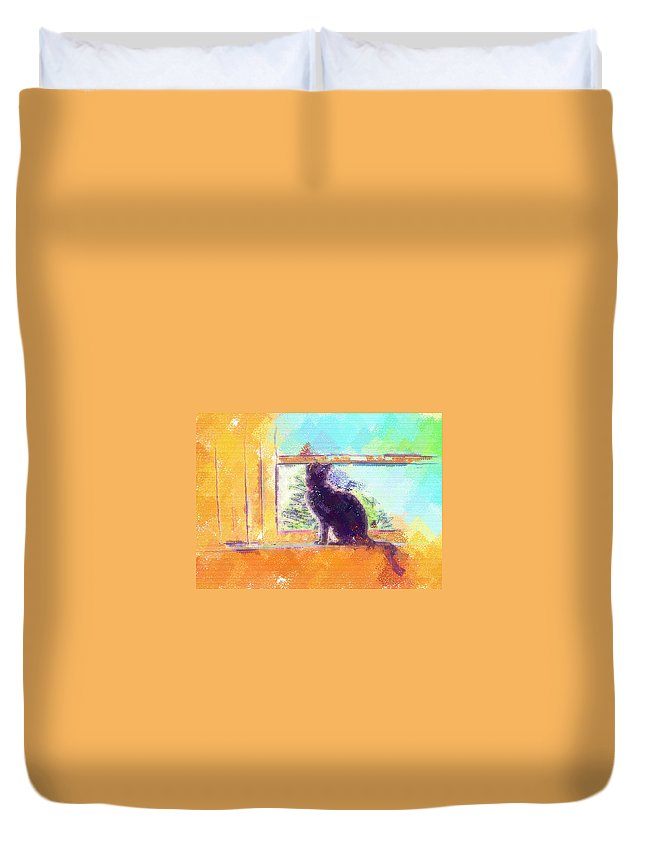 Cat Duvet Cover featuring the digital art Cat Looking Out The Window by Nora Martinez