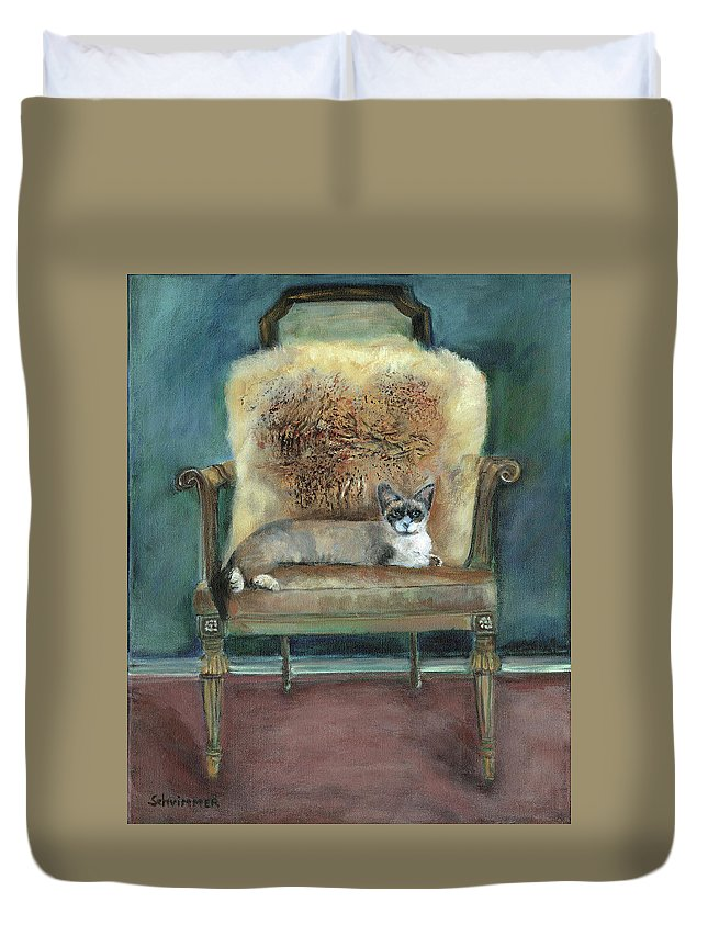 Cat On Chair Duvet Cover featuring the painting Cat On A Chair by Marcelle Schvimmer