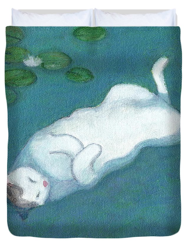 Cat On Vacation Duvet Cover featuring the painting Cat On Vacation by Kazumi Whitemoon