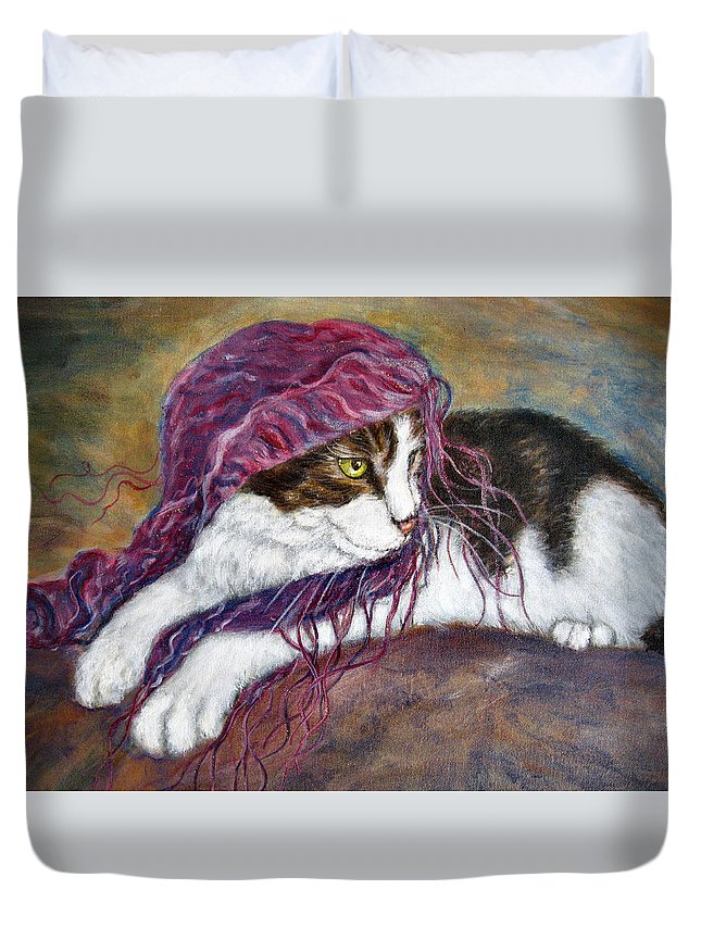 Tortoise Cat Duvet Cover featuring the painting Cat Painting Charlie The Pirate by Frances Gillotti