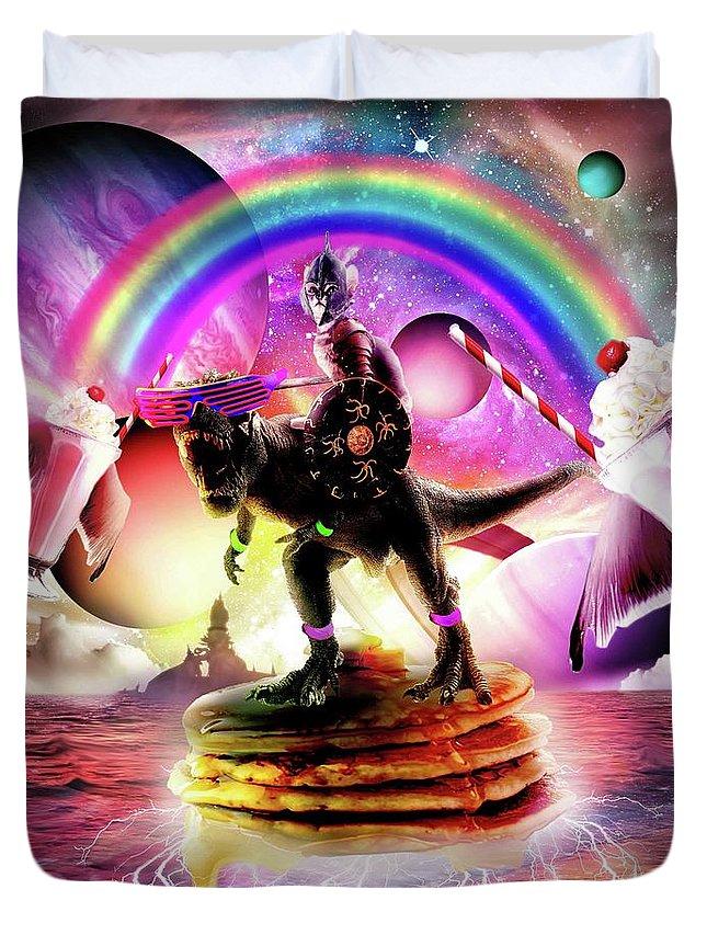 Cat Duvet Cover featuring the digital art Cat Riding Dinosaur With Pancakes And Milkshake by Random Galaxy