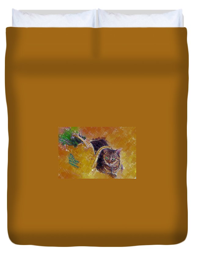 Cat Duvet Cover featuring the digital art Cat With Watering Can by Nora Martinez