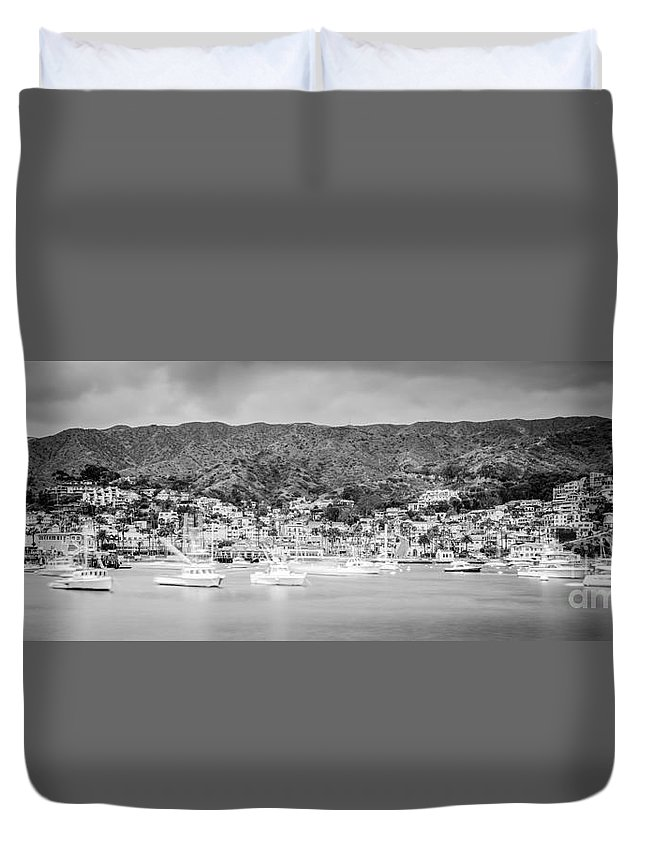 America Duvet Cover featuring the photograph Catalina Island Avalon Bay Black And White Panorama Photo by Paul Velgos