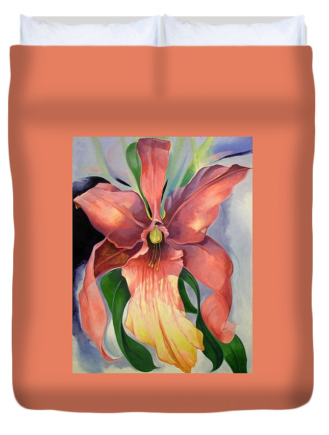 Catalya Duvet Cover featuring the painting Catalya Orchid by Jerrold Carton