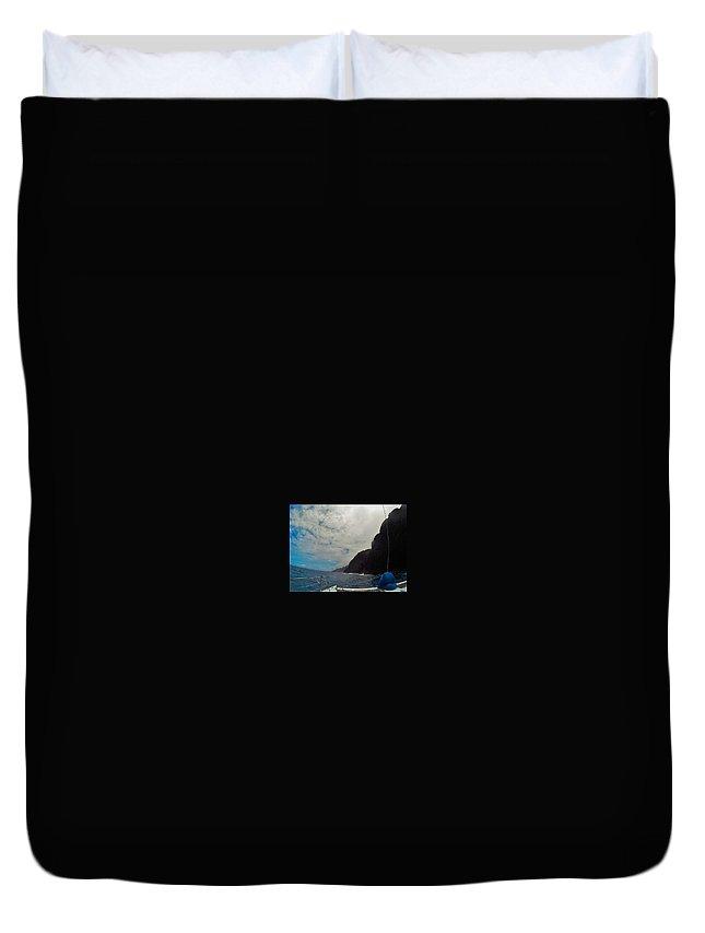 Landscape Duvet Cover featuring the digital art Catamaran In Kauai by Chloe Elerding