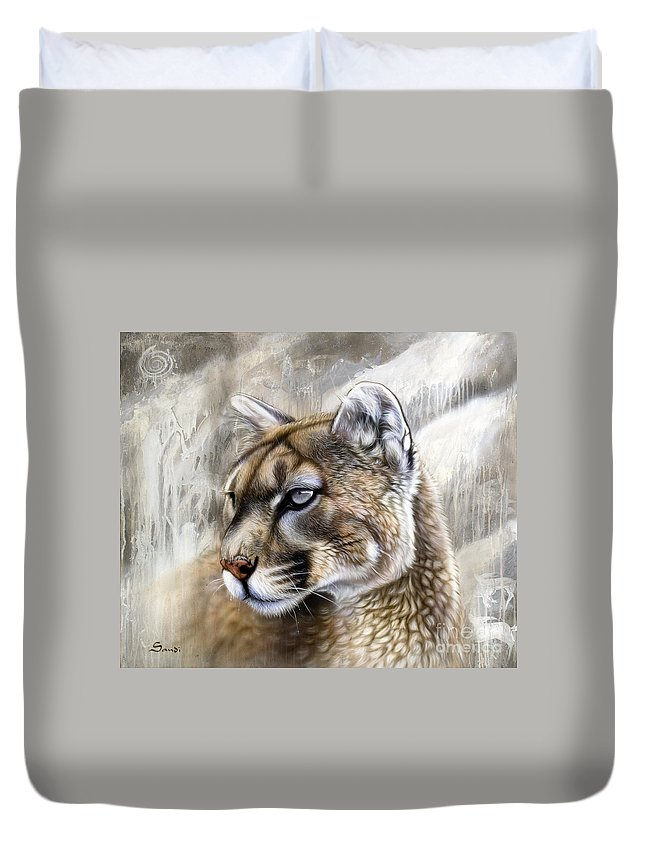 Acrylic Duvet Cover featuring the painting Catamount by Sandi Baker
