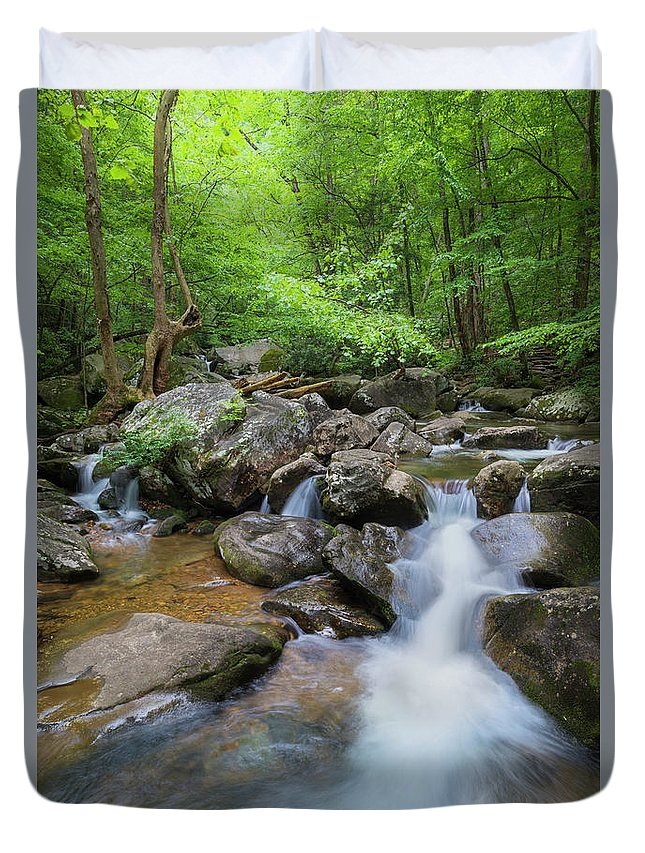 Appalachian Duvet Cover featuring the photograph Catawba Stream In Pisgah National Forest by Ranjay Mitra