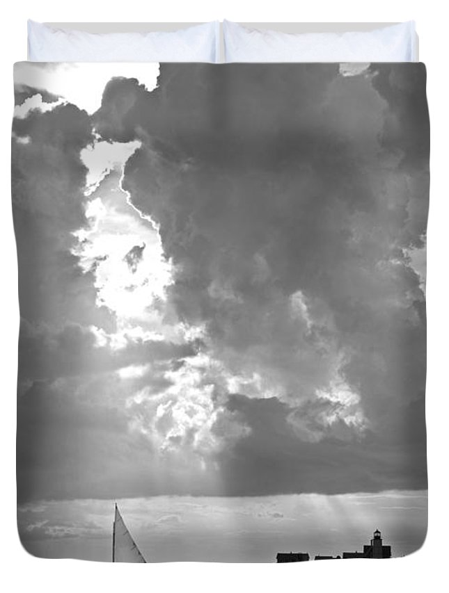 Catboat Duvet Cover featuring the photograph Catboat In Barnstable Harbor by Charles Harden