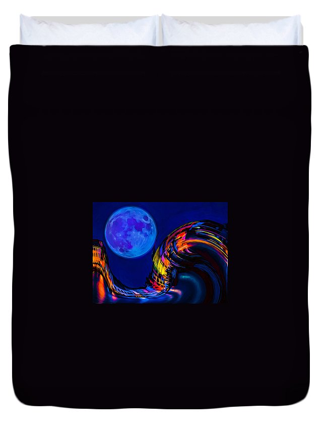 Blue Moon Duvet Cover featuring the photograph Catch A Wave by Ron Fleishman