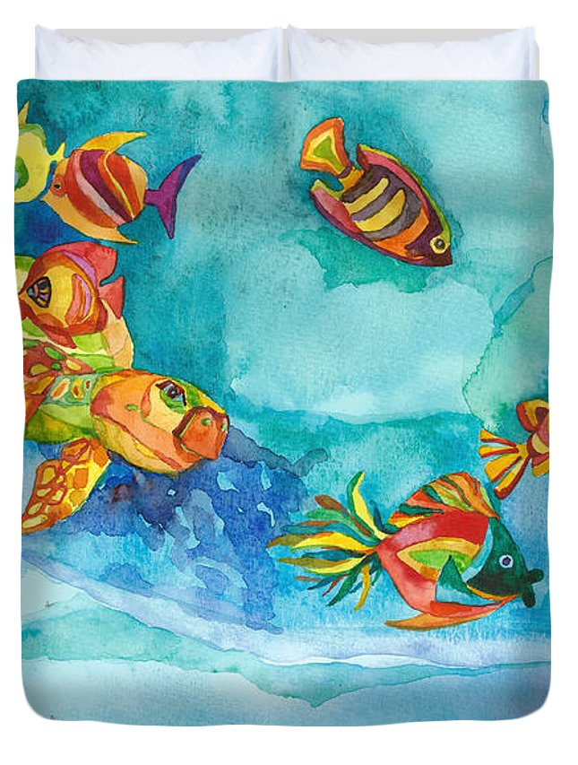 Sea Turtle Duvet Cover featuring the painting Catch Me If You Can by CG Miller and DM Vieru