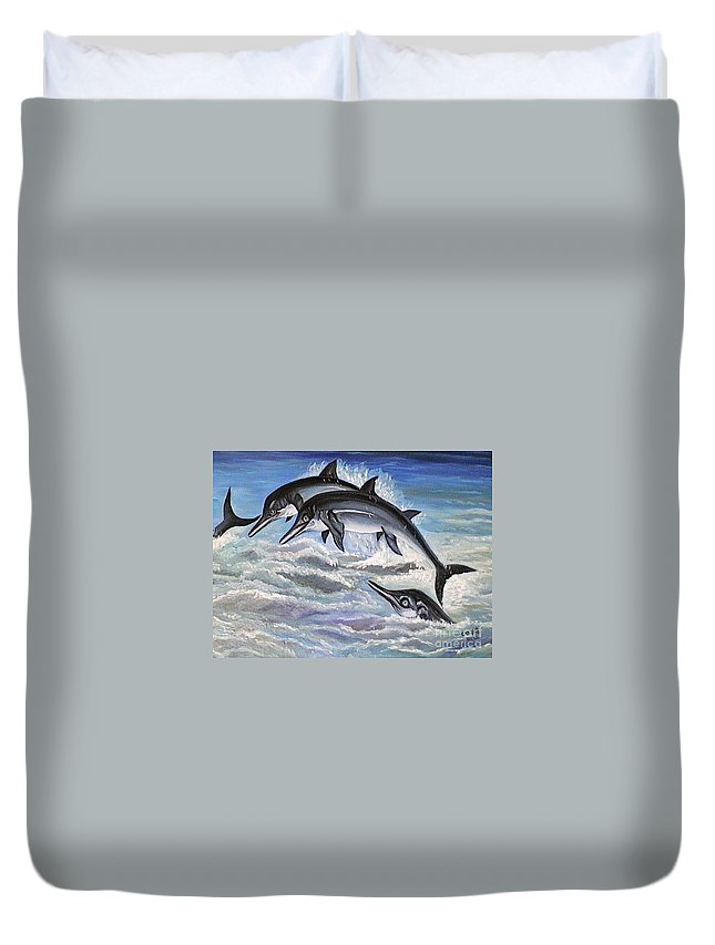 Dolphins Duvet Cover featuring the painting Catch Me If You Can by Usha Rai