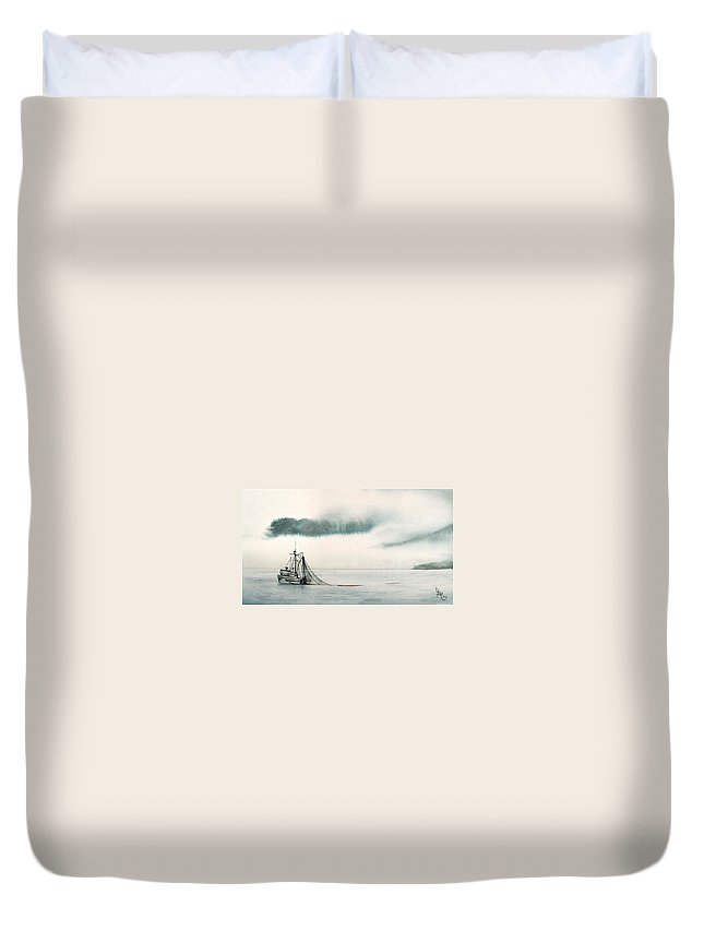 Fishing Boat Duvet Cover featuring the painting Catch Of The Day by Gale Cochran-Smith