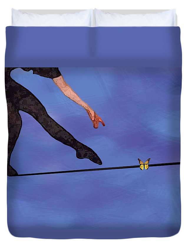 Surreal Duvet Cover featuring the painting Catching Butterflies by Steve Karol