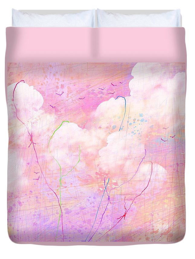 Abstract Duvet Cover featuring the digital art Catching Clouds by Rachel Christine Nowicki