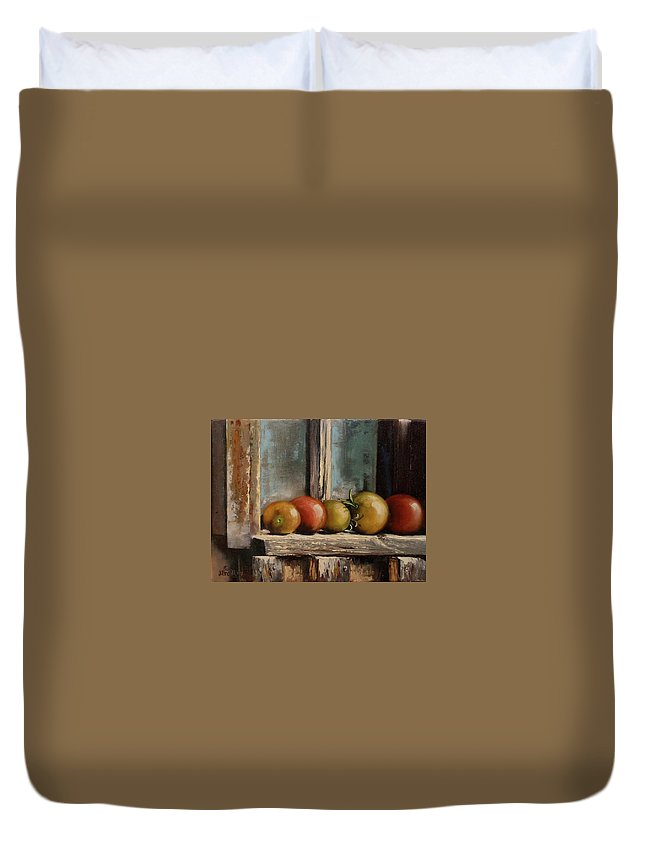 Judy Bradley Duvet Cover featuring the painting Catching Summer Rays by Judy Bradley