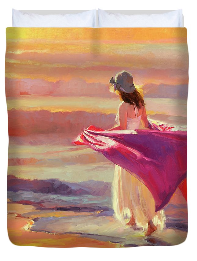 Coast Duvet Cover featuring the painting Catching The Breeze by Steve Henderson