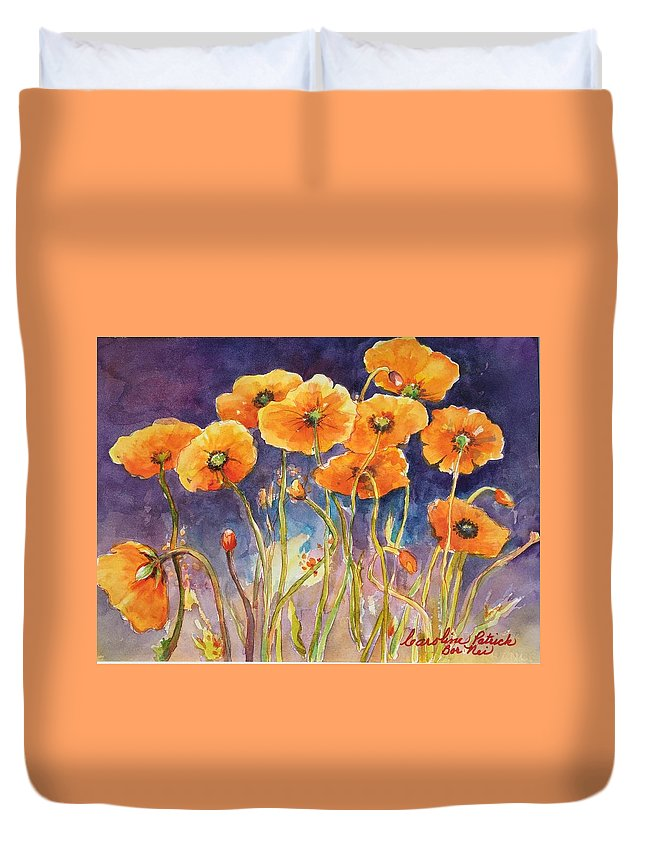 Poppies Duvet Cover featuring the painting Catching The Light by Caroline Patrick