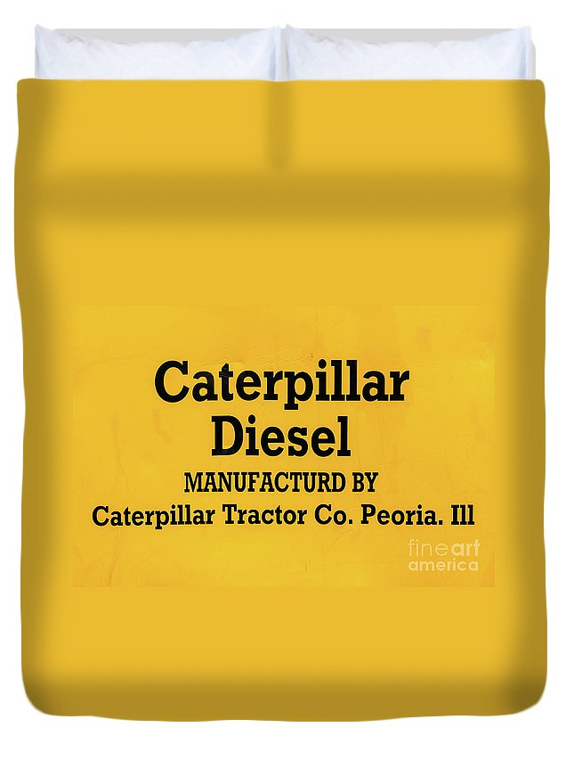 Yellow Duvet Cover featuring the photograph Caterpillar D2 Bulldozer 08 by Rick Piper Photography