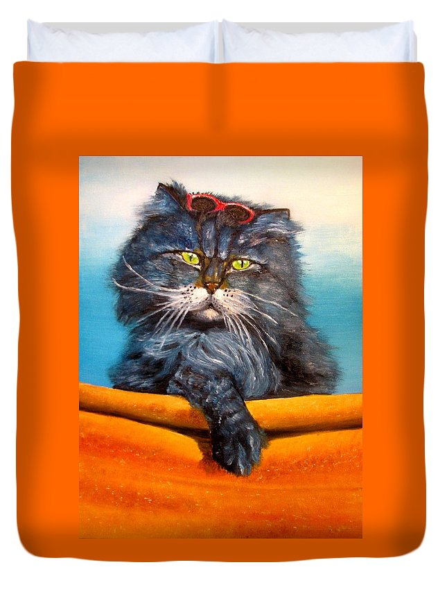 Cat Duvet Cover featuring the painting Cat.go To Swim.original Oil Painting by Natalja Picugina