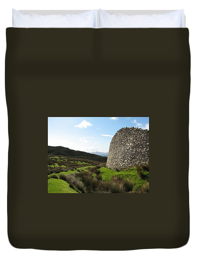 Fort Duvet Cover featuring the photograph Cathair Na Steige by Kelly Mezzapelle