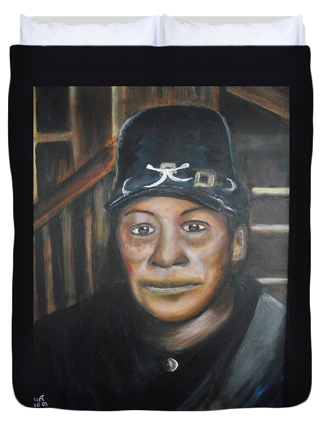 Slavery Duvet Cover featuring the painting Cathay Williams by Anthony Hurt