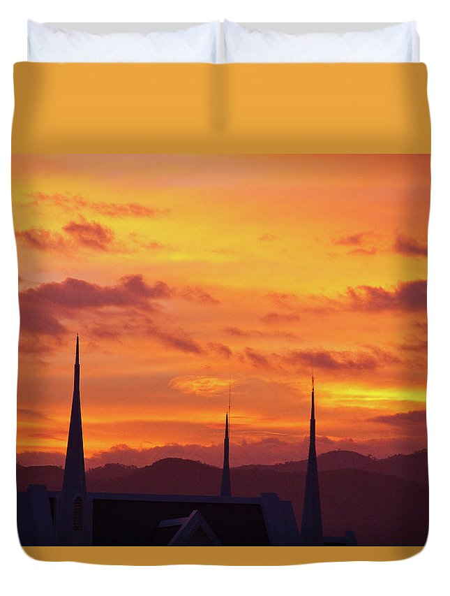 Insogna Duvet Cover featuring the photograph Cathedral Church Sunset by James BO Insogna