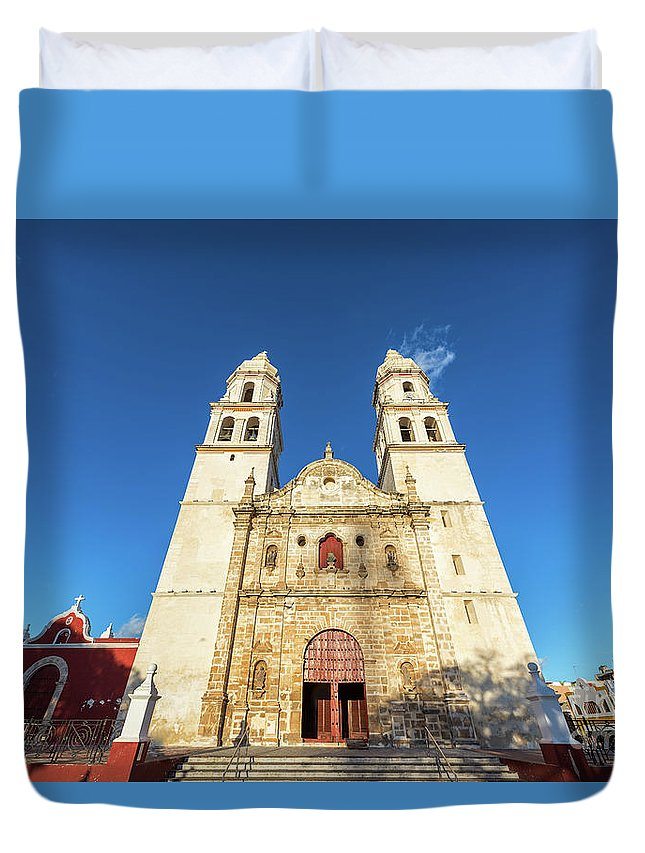 Campeche Duvet Cover featuring the photograph Cathedral In Campeche by Jess Kraft