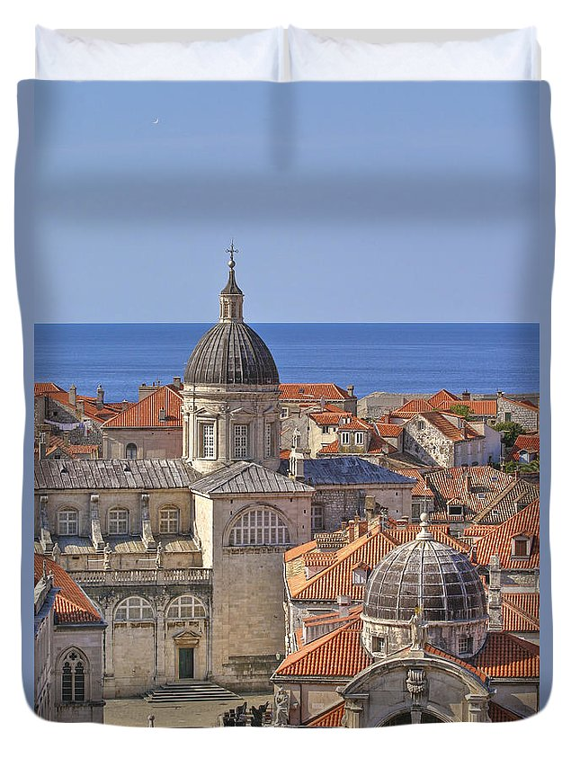 Dubrovnik Duvet Cover featuring the photograph Cathedral Of The Assumption Of The Virgin In Dubrovnik by Rob Greebon